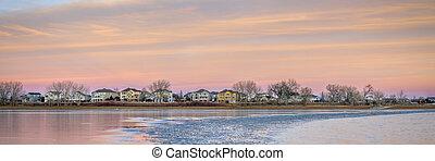 freezing lake after sunset
