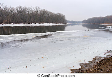 Freezing Mississippi River in Crosby Farm Park