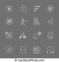 Freezing signs and freezer symbols. Refrigerator functional vector thin line icons