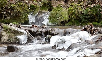 Freezing stream - Freezing flowing stream in winter