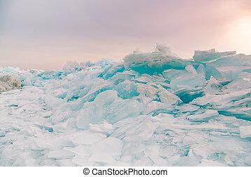 Freezing water lake surface breaking in Baikal water lake winter season