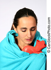 Freezing woman - Digital photo of a woman with a cold ...