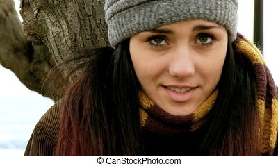 Freezing woman feeling cold