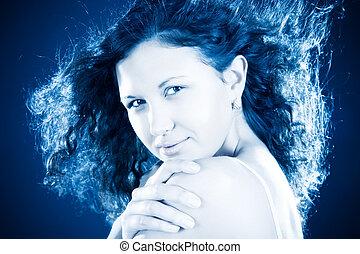 Freezing woman portrait