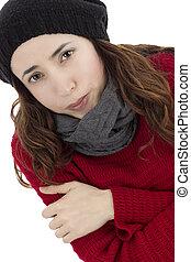 Freezing woman