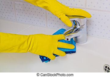 fregadero, limpiado