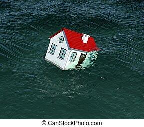 fregaderos, casa, techo, interpretación, water., rojo, 3d