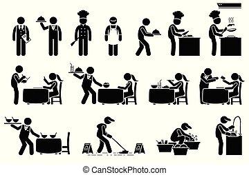 fregueses, trabalhadores, empregados, restaurant., ícones