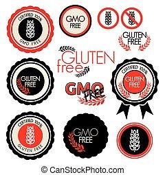 frei, gluten, sammlung, etikett