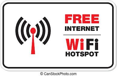 frei, internet, wifi, hotspot, zeichen