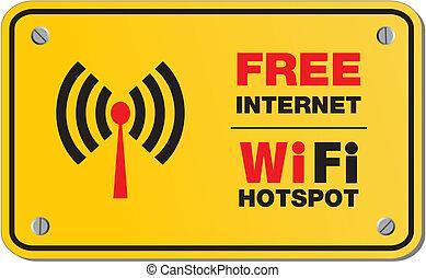 frei, internet, wifi, hotspot, zeichen & schilder