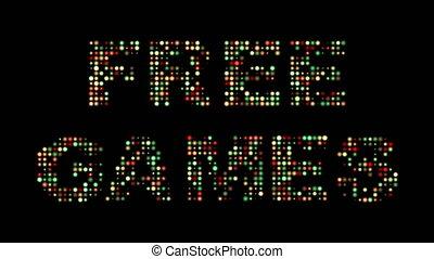 frei, spiele, bunte, leuchtdiode, zeichen