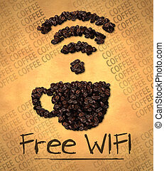 frei, wifi, höhlen abbild, kaffeebohne