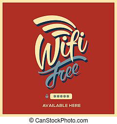 frei, wifi, symbol, retro stil