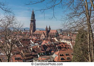 freiburg, catedral, vista cidade