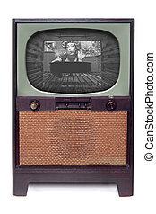 freigestellt, 1950, weißes, fernsehapparat, fernsehen, ...