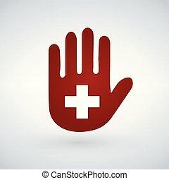 freigestellt, abbildung, hand, cross., hilfe, zuerst, oder, ikone
