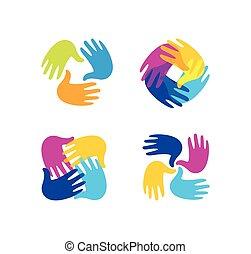 freigestellt, abstrakt, bunte, kinderhände, zusammen, logo, set., kinder, spielzimmer, logotype, collection., kindergarten, zeichen., handprints, in, farbe, symbol., kunst, schule, emblem., vektor, illustration.