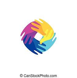 freigestellt, abstrakt, bunte, menschliche hände, zusammen, logo., kinder, spielzimmer, logotype., kindergarten, zeichen., kinder, handprints, in, farbe, symbol., kunst, schule, emblem., vektor, illustration.