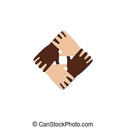 freigestellt, abstrakt, dunkel, und, licht, haut, hände zusammen, logo., schwarz weiß, leute, freundschaft, logotype., gleiche rechte, sign.international, kommunikation, symbol., hilfe, und, unterstuetzung, icon.vector, illustration.