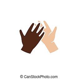 freigestellt, abstrakt, dunkel, und, licht, haut, menschliche hände, zusammen, logo., geben, hoch fünf, schwarz weiß, leute, hände, logotype., internationale freundschaft, zeichen., gleiche rechte, symbol., vektor, illustration.