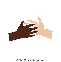 freigestellt, abstrakt, dunkel, und, licht, haut, menschliche hände, zusammen, logo., schwarz weiß, leute, freundschaft, logotype., geben, fünf, gesture., zwischenrassisch, hilfe, zeichen., gleiche rechte, symbol., vektor, illustration.