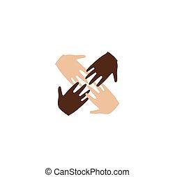 freigestellt, abstrakt, vier, braun weiß, haut, menschliche hände, zusammen, logo., anti, rassismus, logotype., internationale freundschaft, zeichen., gleich, leute, symbol., vektor, illustration.