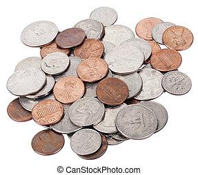 freigestellt, amerikanische münzen, haufen