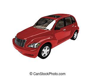 freigestellt, amerikanische , rotes auto, vorderansicht