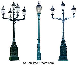 freigestellt, antikes , lampenposten, laternenpfahl, straße, straße, heller pole