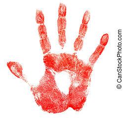 freigestellt, blutig, druck, weißes, hand, rotes