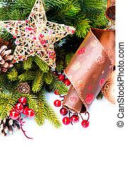 freigestellt, dekoration, dekorationen, weißes, feiertag, weihnachten