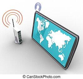 freigestellt, drahtloser computer, hintergrund, internet, weißes, 3d