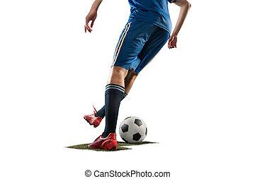 freigestellt, eins, spieler, hintergrund, weißes, fußball, kaukasier, mann