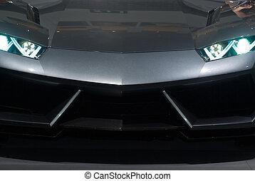 freigestellt, front, schwarz, luxus, sedan, sport, ansicht