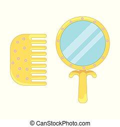 freigestellt, gelber hintergrund, spiegel, weißes, kamm