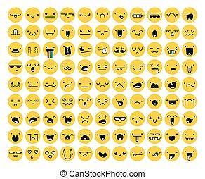 freigestellt, gelber , satz, groß, 99, white., gefühl, emoji