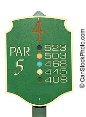 freigestellt, golfen, pari, 5, zeichen