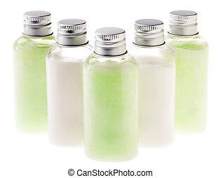 freigestellt, grün, &, weißes, lotion, flaschen
