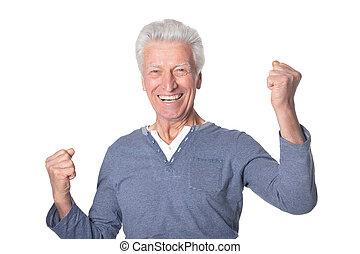 freigestellt, hintergrund, älter, glücklich, weißes, mann