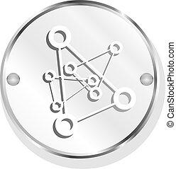 freigestellt, hintergrund, weißes, chemie, (button), ikone