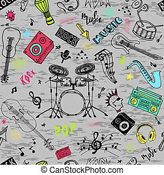 freigestellt, instrumente, hintergrund, musik, satz, hand, knall, musikalisches, gestein, gezeichnet, thema, gekritzel, weißes, theme.