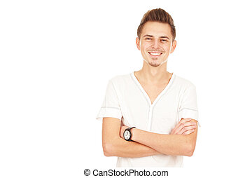 freigestellt, junger, hintergrund, lächeln, weißes, mann