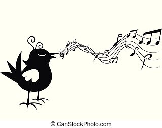 freigestellt, karikatur, merkzettel, musik, singen vogel