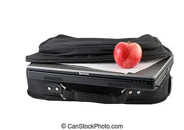 freigestellt, laptod, und, reisekoffer