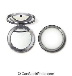 freigestellt, machen, metall, kosmetisch, auf, tasche, hintergrund, spiegel, klein, weißes, runder , silber