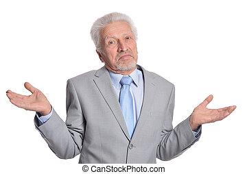 freigestellt, posierend, hintergrund, älter, weißes, mann