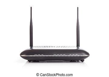 freigestellt, radio, schwarzer hintergrund, router, weißes