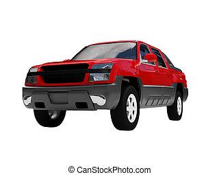 freigestellt, rotes auto, vorderansicht