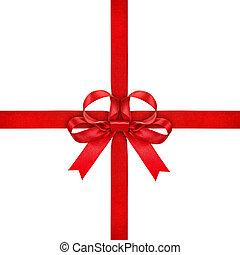 Freigestellt, schleife, rotes, hintergrund, weißes, geschenkband